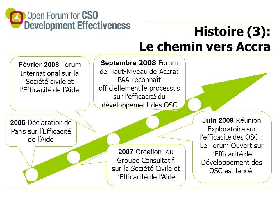 Histoire (3): Le chemin vers Accra 2005 Déclaration de Paris sur l'Efficacité de l'Aide 2007 Création du Groupe Consultatif sur la Société Civile et l'Efficacité de l'Aide Février 2008 Forum International sur la Société civile et l'Efficacité de l'Aide Juin 2008 Réunion Exploratoire sur l'efficacité des OSC : Le Forum Ouvert sur l'Efficacité de Développement des OSC est lancé.