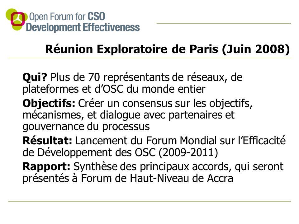 Réunion Exploratoire de Paris (Juin 2008) Qui? Plus de 70 représentants de réseaux, de plateformes et d'OSC du monde entier Objectifs: Créer un consen