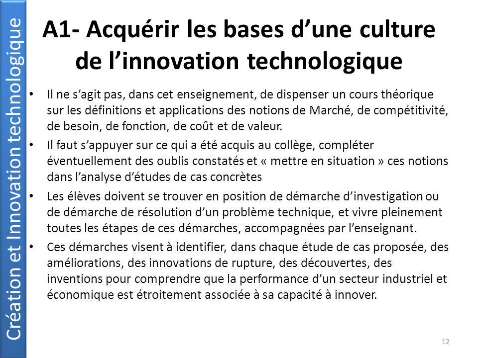 A1- Acquérir les bases d'une culture de l'innovation technologique Il ne s'agit pas, dans cet enseignement, de dispenser un cours théorique sur les définitions et applications des notions de Marché, de compétitivité, de besoin, de fonction, de coût et de valeur.