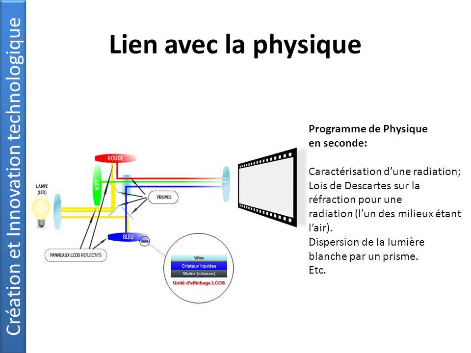 Lien avec la physique Programme de Physique en seconde: Caractérisation d'une radiation; Lois de Descartes sur la réfraction pour une radiation (l'un des milieux étant l'air).