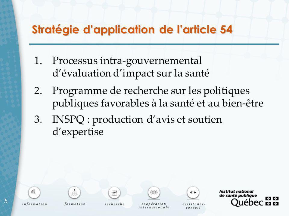 5 Stratégie d'application de l'article 54 1.Processus intra-gouvernemental d'évaluation d'impact sur la santé 2.Programme de recherche sur les politiques publiques favorables à la santé et au bien-être 3.INSPQ : production d'avis et soutien d'expertise 5