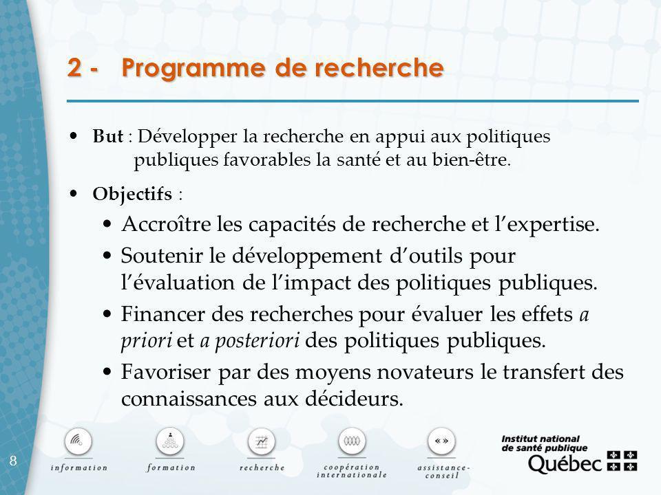 8 2 - Programme de recherche But : Développer la recherche en appui aux politiques publiques favorables la santé et au bien-être.
