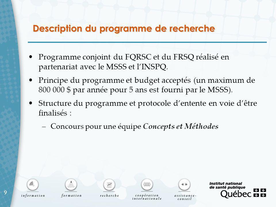 9 Description du programme de recherche Programme conjoint du FQRSC et du FRSQ réalisé en partenariat avec le MSSS et l'INSPQ.