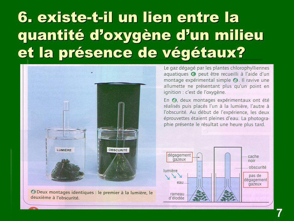 6. existe-t-il un lien entre la quantité d'oxygène d'un milieu et la présence de végétaux? 7