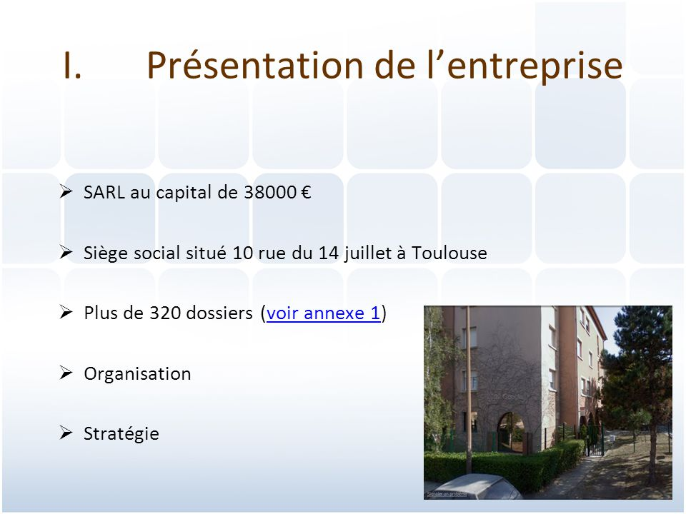 3 I.Présentation de l'entreprise  SARL au capital de 38000 €  Siège social situé 10 rue du 14 juillet à Toulouse  Plus de 320 dossiers (voir annexe 1)voir annexe 1  Organisation  Stratégie
