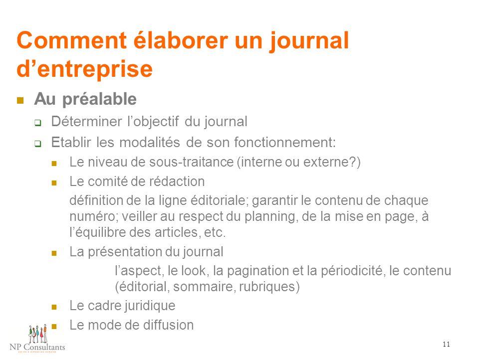 Comment élaborer un journal d'entreprise 11 Au préalable  Déterminer l'objectif du journal  Etablir les modalités de son fonctionnement: Le niveau d