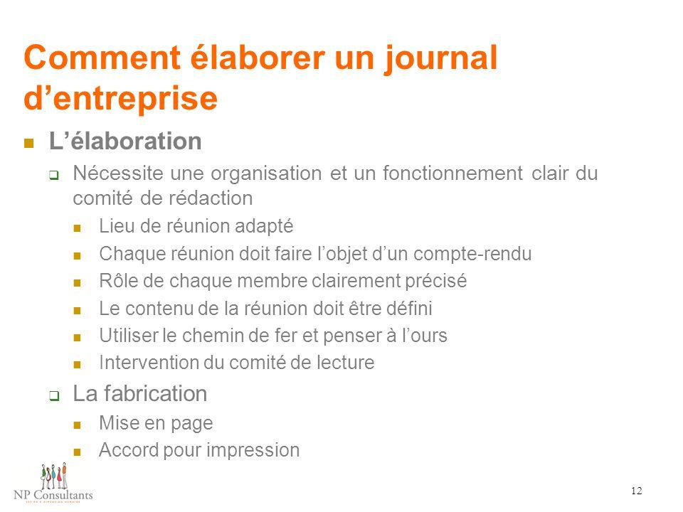 Comment élaborer un journal d'entreprise 12 L'élaboration  Nécessite une organisation et un fonctionnement clair du comité de rédaction Lieu de réuni