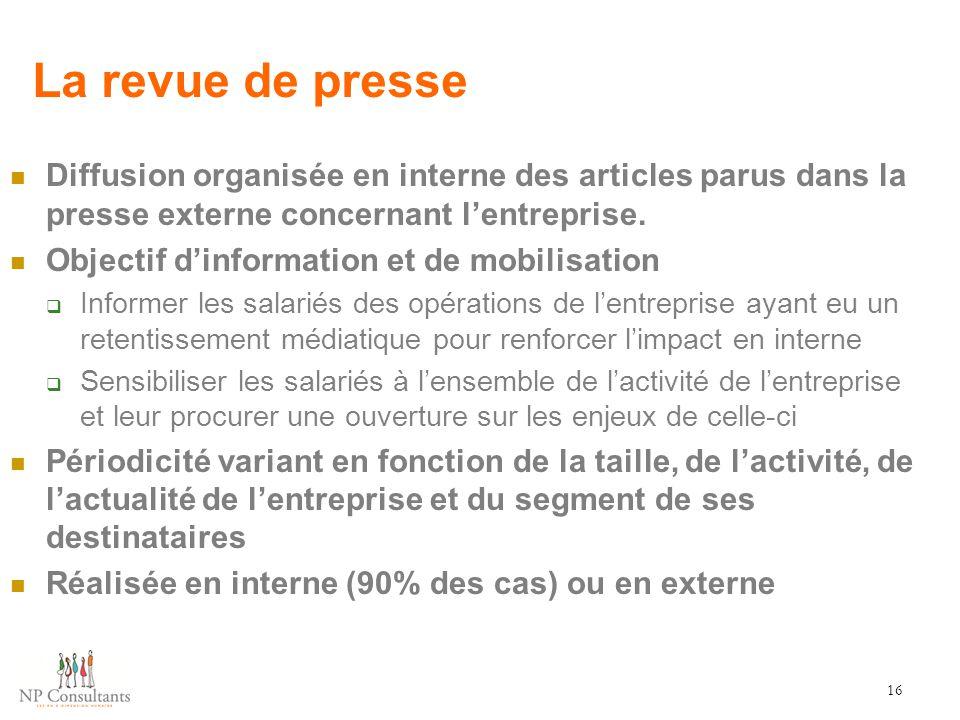 La revue de presse Diffusion organisée en interne des articles parus dans la presse externe concernant l'entreprise. Objectif d'information et de mobi