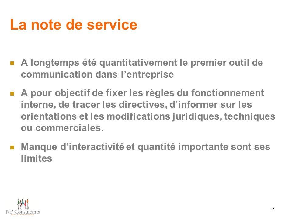 La note de service A longtemps été quantitativement le premier outil de communication dans l'entreprise A pour objectif de fixer les règles du fonctio