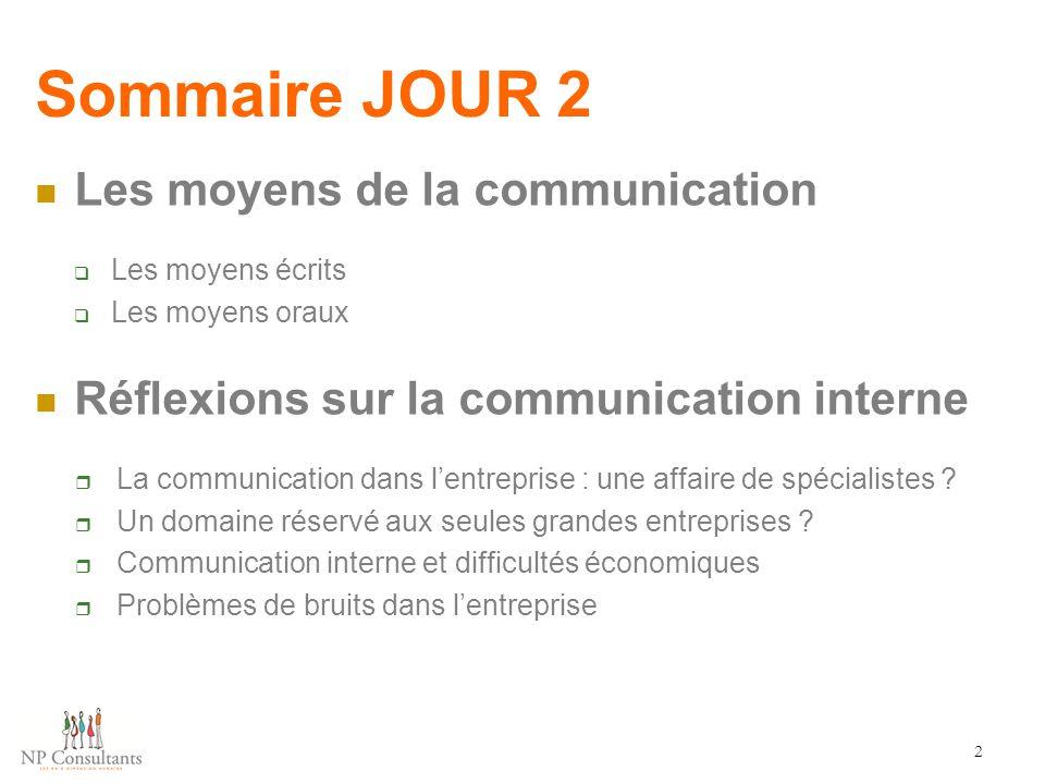 Sommaire JOUR 2 Les moyens de la communication  Les moyens écrits  Les moyens oraux Réflexions sur la communication interne  La communication dans