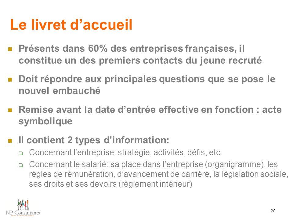 Le livret d'accueil Présents dans 60% des entreprises françaises, il constitue un des premiers contacts du jeune recruté Doit répondre aux principales