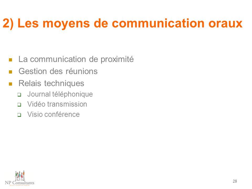 2) Les moyens de communication oraux 28 La communication de proximité Gestion des réunions Relais techniques  Journal téléphonique  Vidéo transmissi