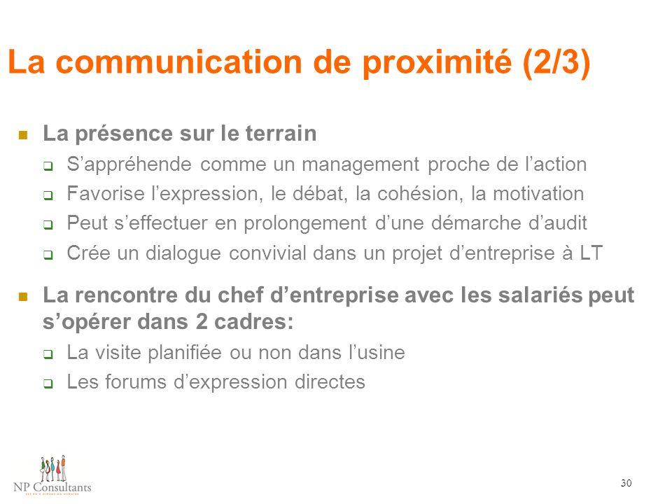 La communication de proximité (2/3) La présence sur le terrain  S'appréhende comme un management proche de l'action  Favorise l'expression, le débat