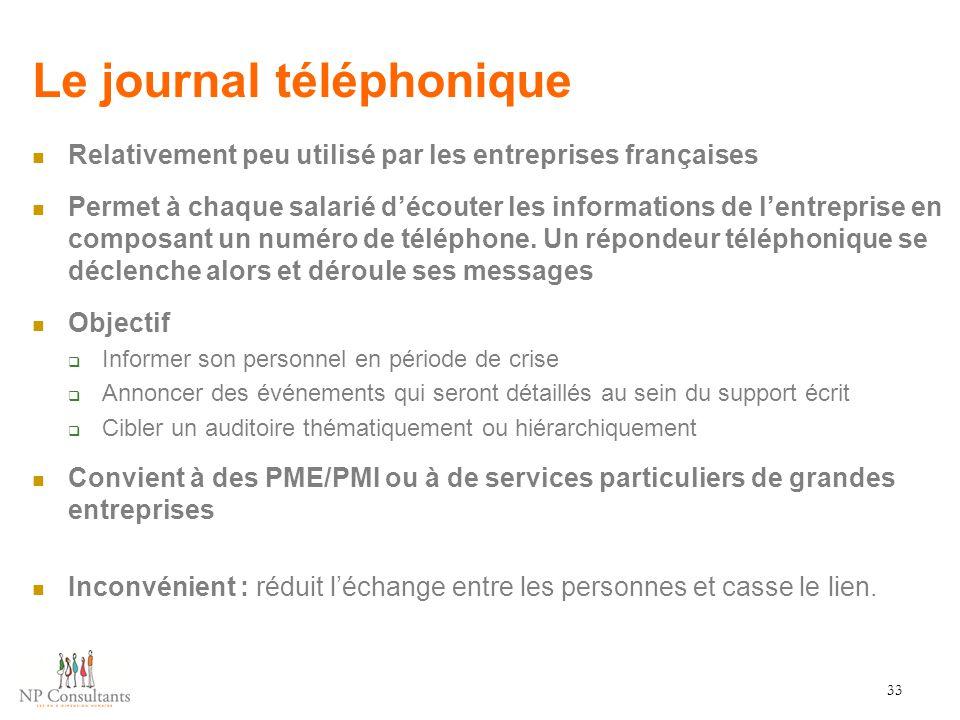 Le journal téléphonique Relativement peu utilisé par les entreprises françaises Permet à chaque salarié d'écouter les informations de l'entreprise en