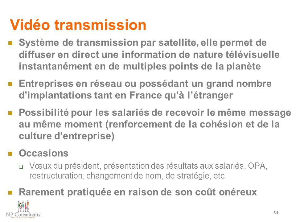 Vidéo transmission Système de transmission par satellite, elle permet de diffuser en direct une information de nature télévisuelle instantanément en d