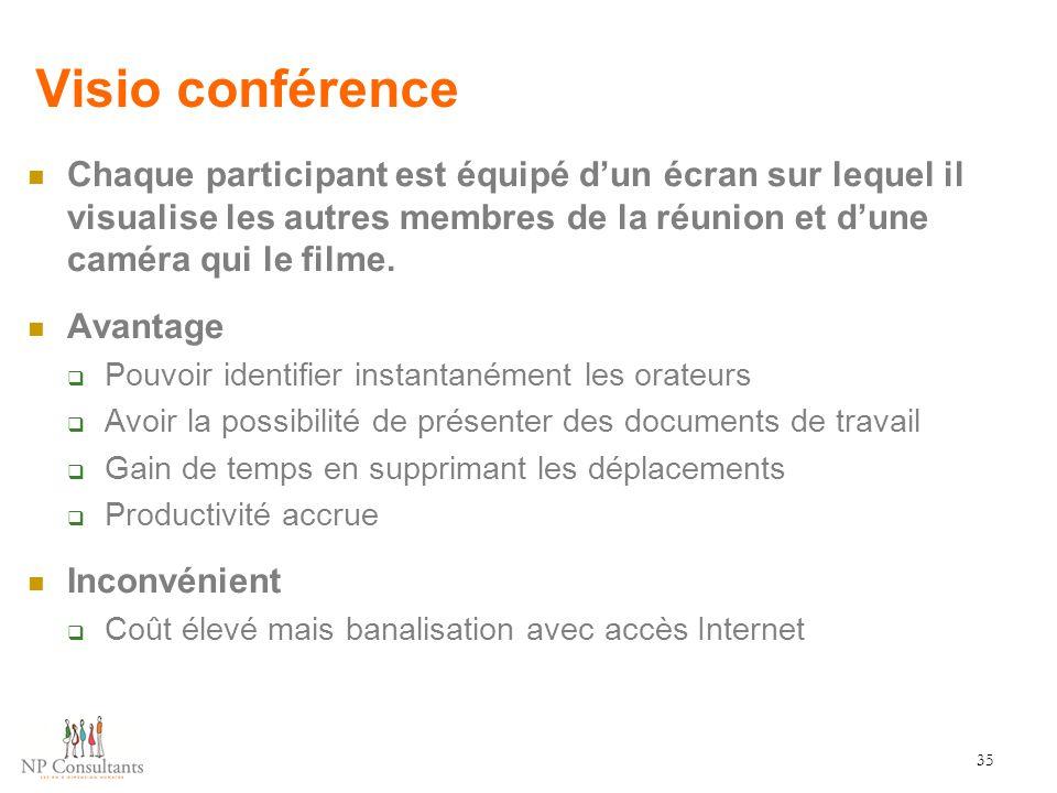 Visio conférence Chaque participant est équipé d'un écran sur lequel il visualise les autres membres de la réunion et d'une caméra qui le filme. Avant