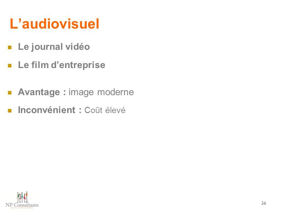 L'audiovisuel Le journal vidéo Le film d'entreprise Avantage : image moderne Inconvénient : Coût élevé 36