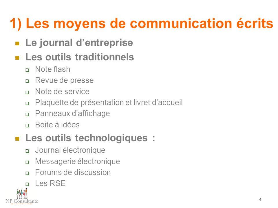 1) Les moyens de communication écrits Le journal d'entreprise Les outils traditionnels  Note flash  Revue de presse  Note de service  Plaquette de