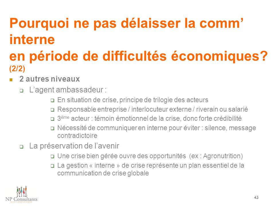 Pourquoi ne pas délaisser la comm' interne en période de difficultés économiques? (2/2) 43 2 autres niveaux  L'agent ambassadeur :  En situation de