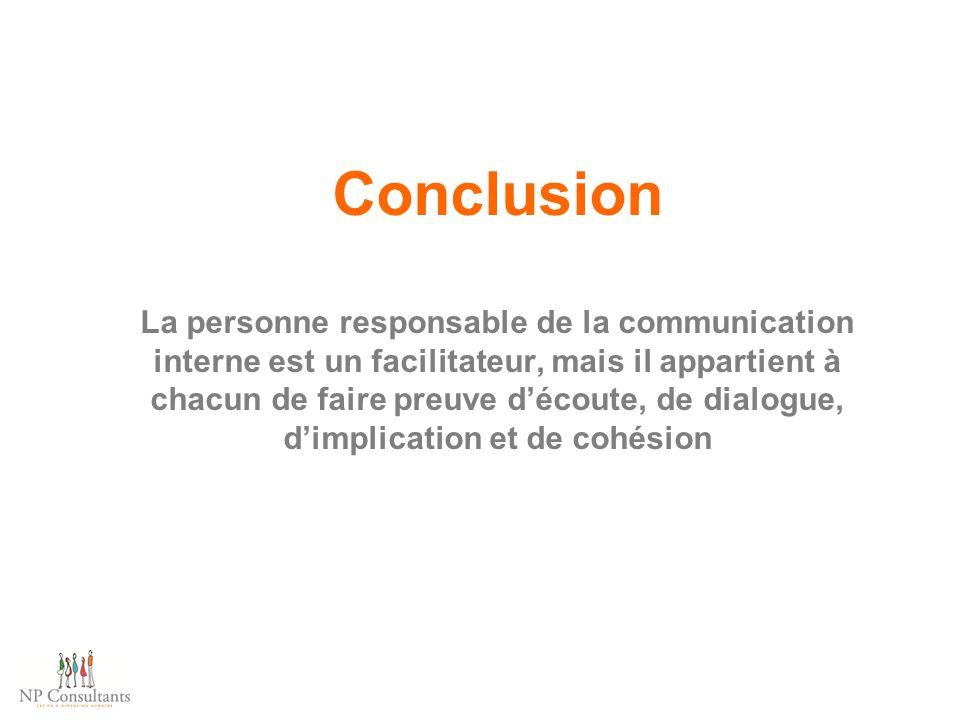Conclusion La personne responsable de la communication interne est un facilitateur, mais il appartient à chacun de faire preuve d'écoute, de dialogue,