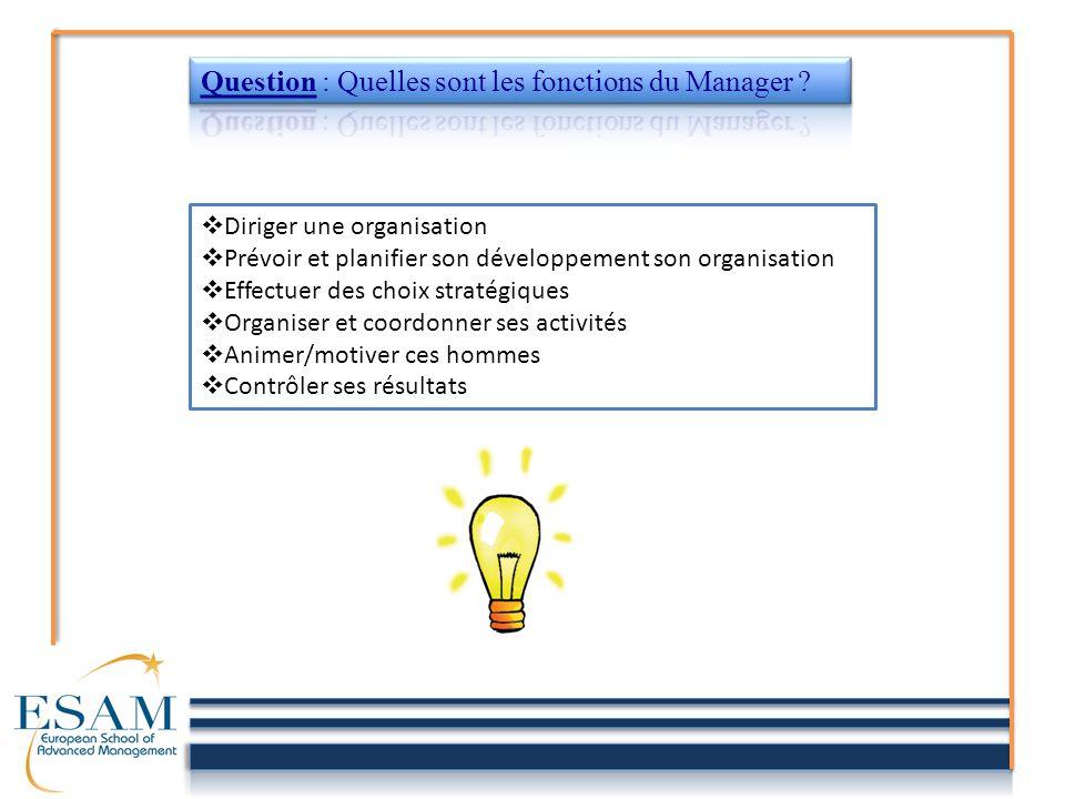 DDiriger une organisation PPrévoir et planifier son développement son organisation EEffectuer des choix stratégiques OOrganiser et coordonner