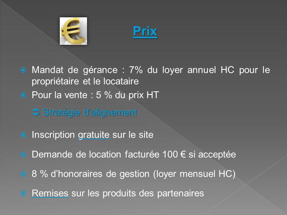 Prix  Mandat de gérance : 7% du loyer annuel HC pour le propriétaire et le locataire  Pour la vente : 5 % du prix HT  Stratégie d'alignement  Insc