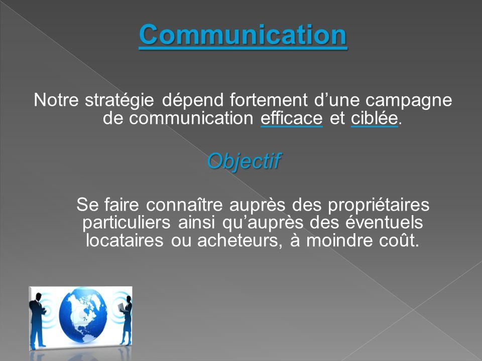 Communication Notre stratégie dépend fortement d'une campagne de communication efficace et ciblée.Objectif Se faire connaître auprès des propriétaires