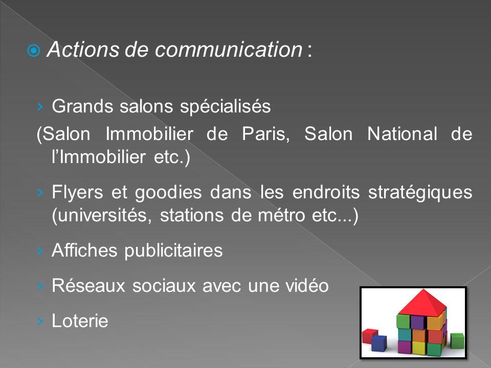  Actions de communication : › Grands salons spécialisés (Salon Immobilier de Paris, Salon National de l'Immobilier etc.) › Flyers et goodies dans les