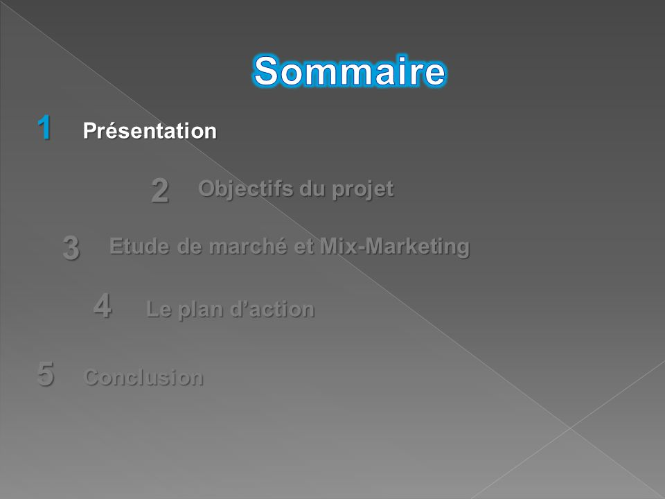 1 2 3 5 Présentation Objectifs du projet Etude de marché et Mix-Marketing Conclusion 4 Le plan d'action