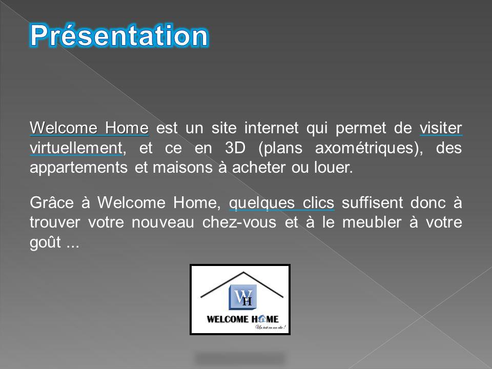 Welcome Home Welcome Home est un site internet qui permet de visiter virtuellement, et ce en 3D (plans axométriques), des appartements et maisons à ac