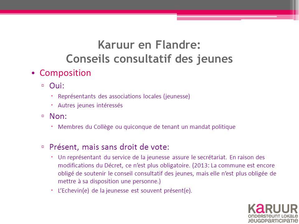 Karuur en Flandre: Conseils consultatif des jeunes Composition ▫ Oui:  Représentants des associations locales (jeunesse)  Autres jeunes intéressés ▫