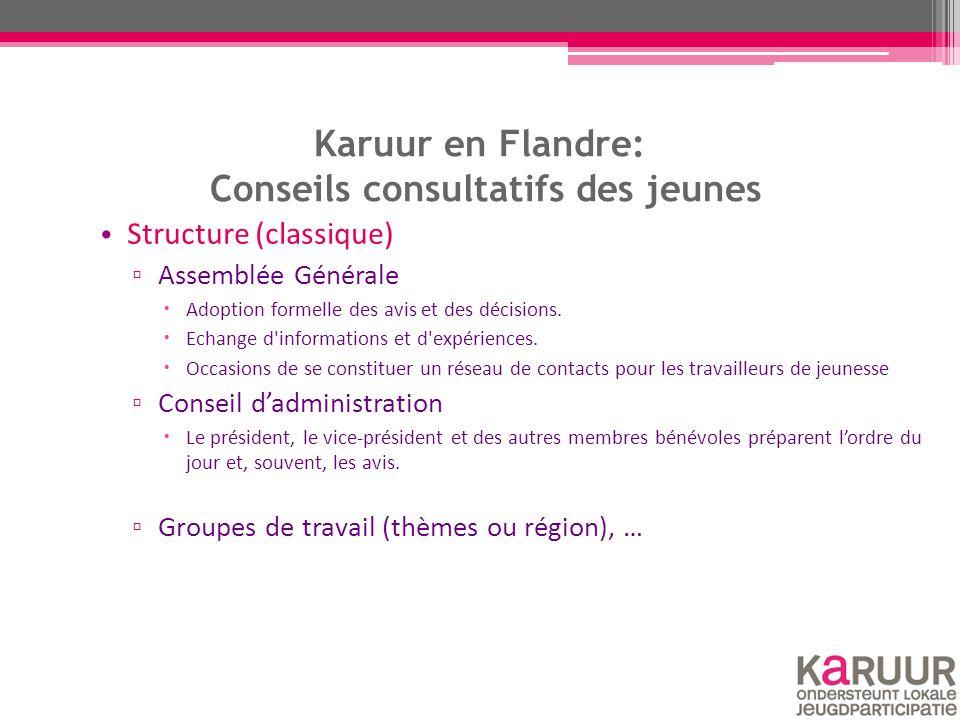 Karuur en Flandre: Conseils consultatifs des jeunes Structure (classique) ▫ Assemblée Générale  Adoption formelle des avis et des décisions.  Echang