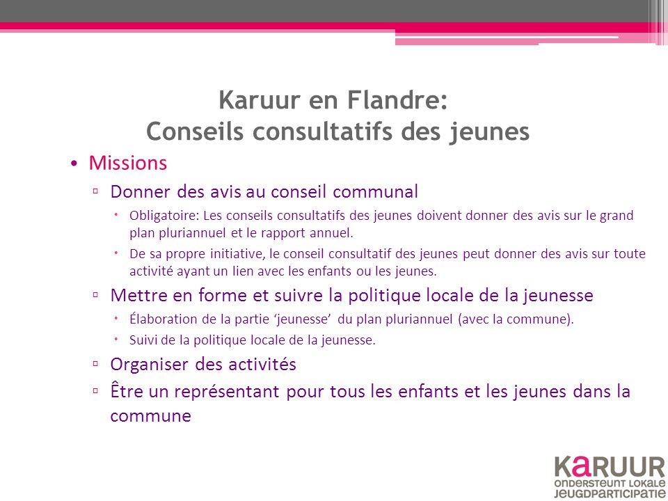 Karuur en Flandre: Conseils consultatifs des jeunes Missions ▫ Donner des avis au conseil communal  Obligatoire: Les conseils consultatifs des jeunes