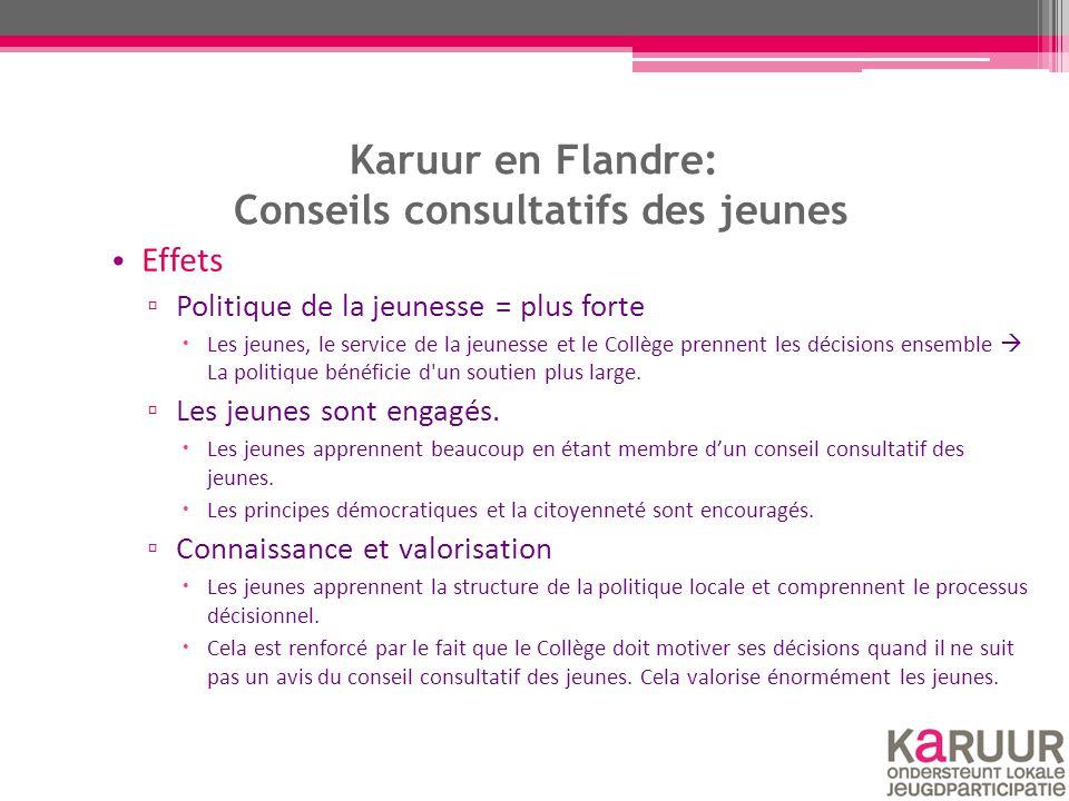 Karuur en Flandre: Conseils consultatifs des jeunes Effets ▫ Politique de la jeunesse = plus forte  Les jeunes, le service de la jeunesse et le Collège prennent les décisions ensemble  La politique bénéficie d un soutien plus large.