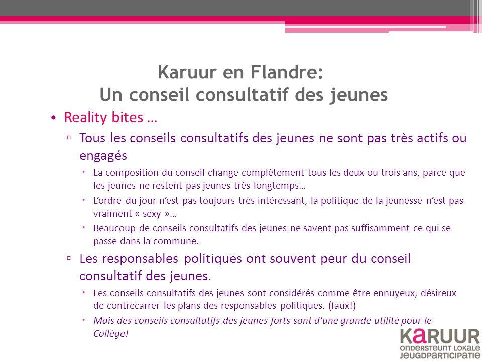 Karuur en Flandre: Un conseil consultatif des jeunes Reality bites … ▫ Tous les conseils consultatifs des jeunes ne sont pas très actifs ou engagés 