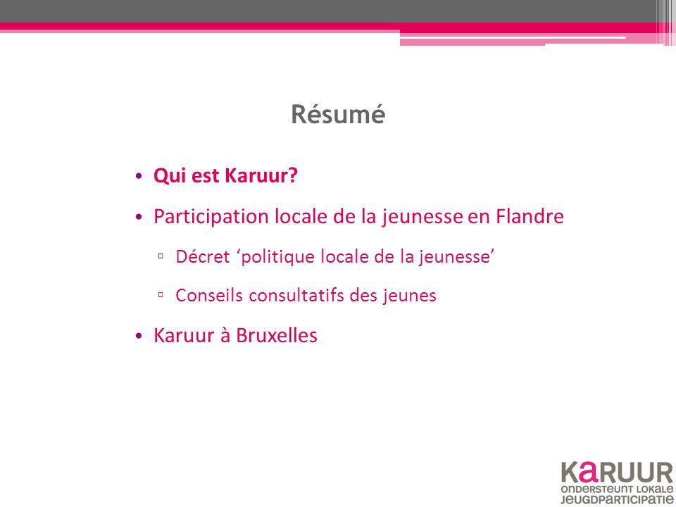 Résumé Qui est Karuur? Participation locale de la jeunesse en Flandre ▫ Décret 'politique locale de la jeunesse' ▫ Conseils consultatifs des jeunes Ka