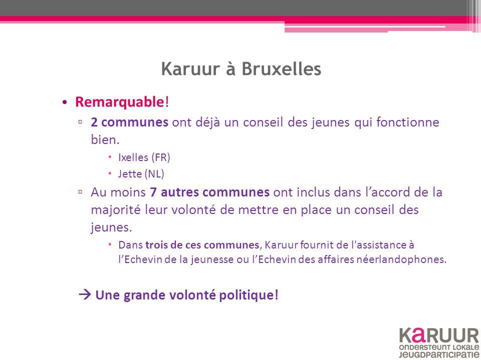 Karuur à Bruxelles Remarquable! ▫ 2 communes ont déjà un conseil des jeunes qui fonctionne bien.  Ixelles (FR)  Jette (NL) ▫ Au moins 7 autres commu