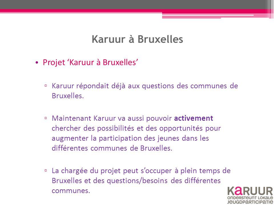 Karuur à Bruxelles Projet 'Karuur à Bruxelles' ▫ Karuur répondait déjà aux questions des communes de Bruxelles. ▫ Maintenant Karuur va aussi pouvoir a