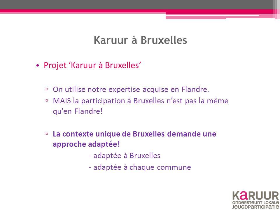Karuur à Bruxelles Projet 'Karuur à Bruxelles' ▫ On utilise notre expertise acquise en Flandre. ▫ MAIS la participation à Bruxelles n'est pas la même