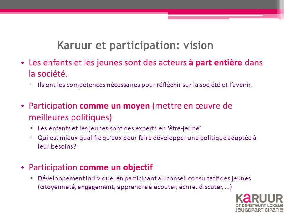 Karuur à Bruxelles Projet 'Karuur à Bruxelles' : exemples ▫ Bruxelles-ville: Soutien à la mise en place d'un conseil consultatif néerlandophone des jeunes.