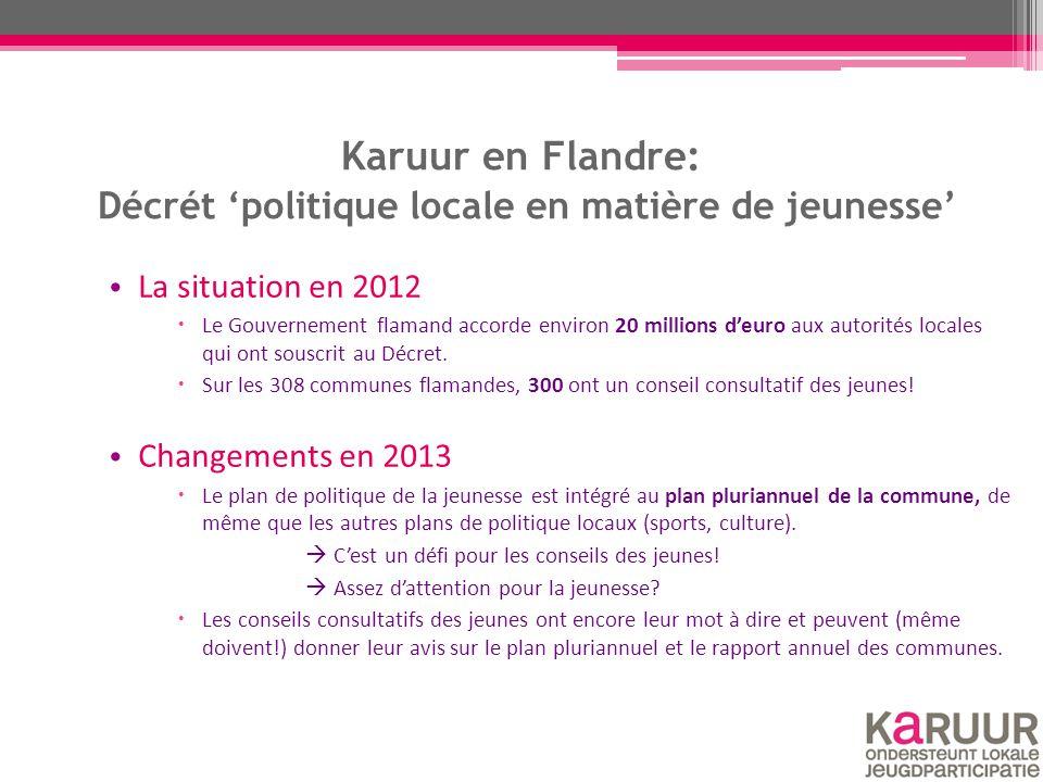 Karuur en Flandre: Décrét 'politique locale en matière de jeunesse' La situation en 2012  Le Gouvernement flamand accorde environ 20 millions d'euro aux autorités locales qui ont souscrit au Décret.