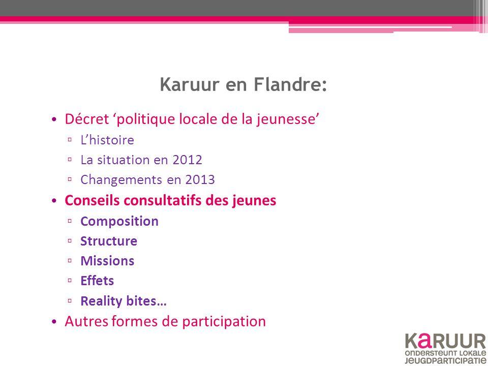 Karuur en Flandre: Décret 'politique locale de la jeunesse' ▫ L'histoire ▫ La situation en 2012 ▫ Changements en 2013 Conseils consultatifs des jeunes