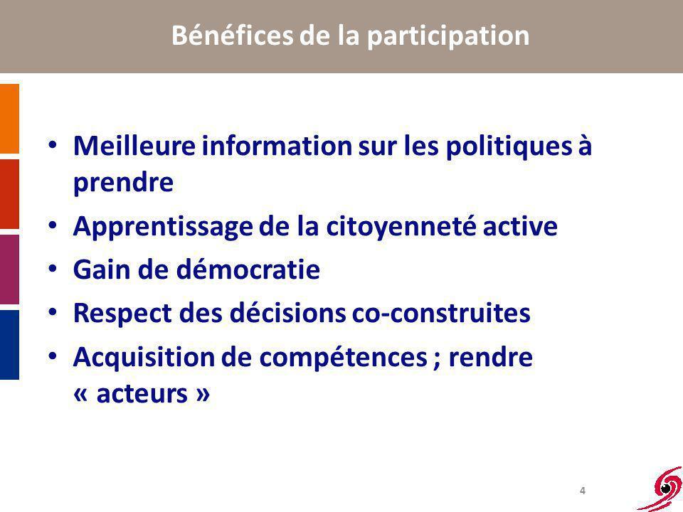 4 Bénéfices de la participation Meilleure information sur les politiques à prendre Apprentissage de la citoyenneté active Gain de démocratie Respect des décisions co-construites Acquisition de compétences ; rendre « acteurs »