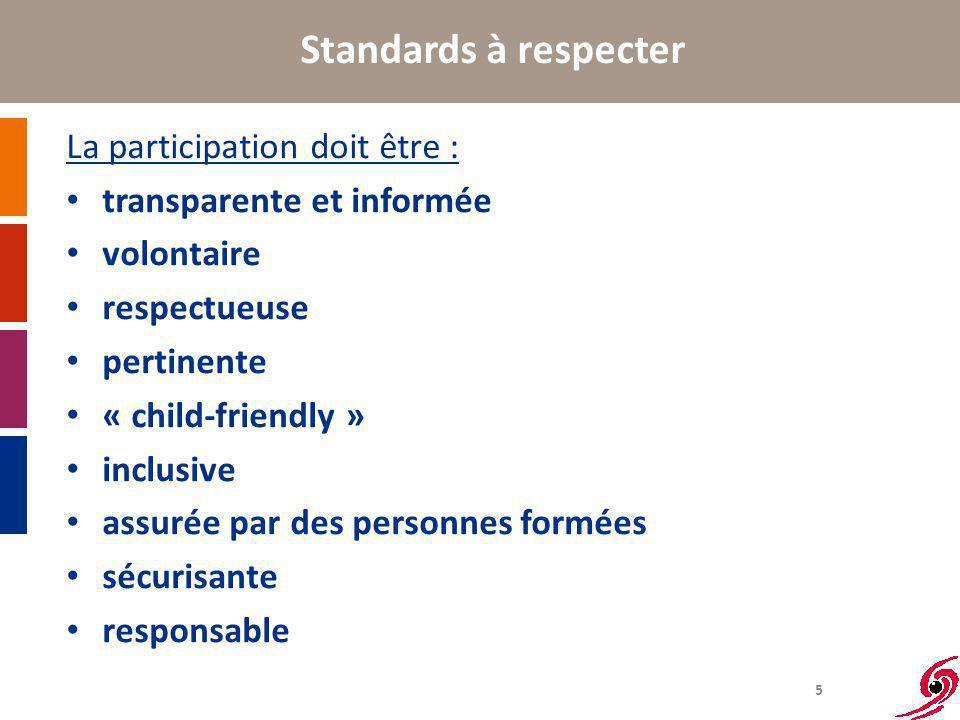 5 Standards à respecter La participation doit être : transparente et informée volontaire respectueuse pertinente « child-friendly » inclusive assurée par des personnes formées sécurisante responsable