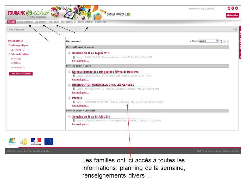 Les familles ont ici accès à toutes les informations: planning de la semaine, renseignements divers ….