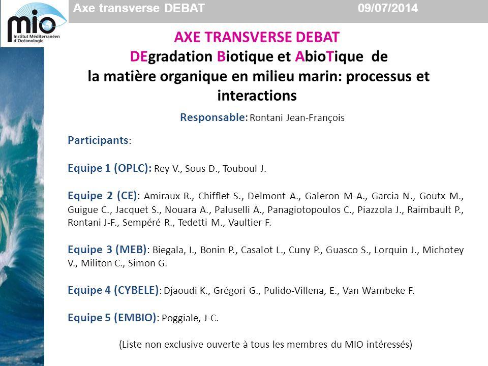 Axe transverse DEBAT 09/07/2014 AXE TRANSVERSE DEBAT DEgradation Biotique et AbioTique de la matière organique en milieu marin: processus et interactions Participants : Equipe 1 (OPLC): Rey V., Sous D., Touboul J.