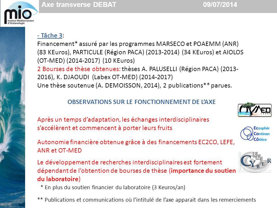 - Tâche 3: Financement* assuré par les programmes MARSECO et POAEMM (ANR) (83 KEuros), PARTICULE (Région PACA) (2013-2014) (34 KEuros) et AIOLOS (OT-M