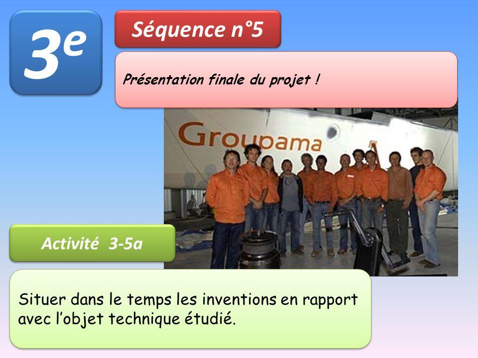 3e3e 3e3e Séquence n°5 Activité 3-5a Présentation finale du projet ! Situer dans le temps les inventions en rapport avec l'objet technique étudié.