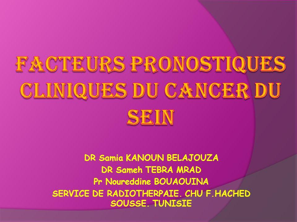 DR Samia KANOUN BELAJOUZA DR Sameh TEBRA MRAD Pr Noureddine BOUAOUINA SERVICE DE RADIOTHERPAIE. CHU F.HACHED SOUSSE. TUNISIE