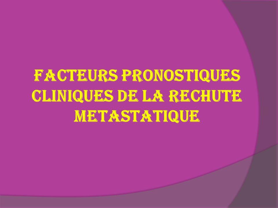 FACTEURS PRONOSTIQUES CLINIQUES DE LA RECHUTE METASTATIQUE